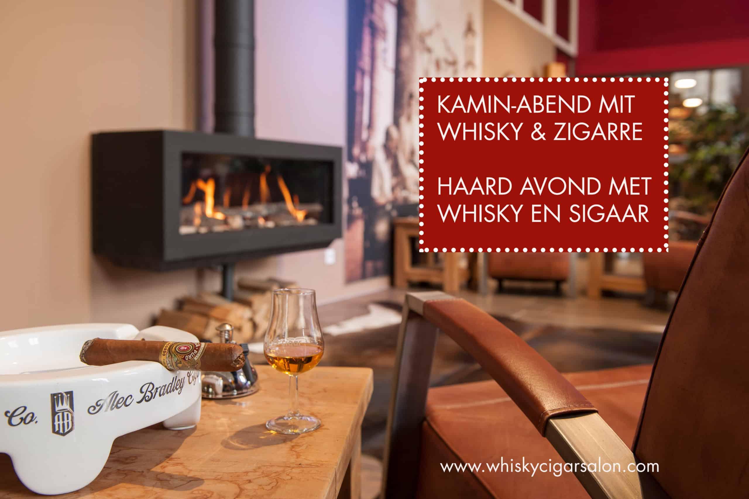 Whisky und zigarre am kamin im whisky & cigar salon
