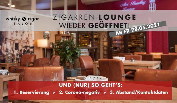 Zigarren-Lounge öffnet am 28.05.21 wieder